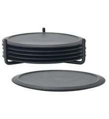 Zone Denmark - Glass Trivets w. Holder - Black (330303)