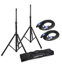 Adam Hall - SPS 023 SET 2 - Speaker Stand Set + Speaker Cables & Transport Bag