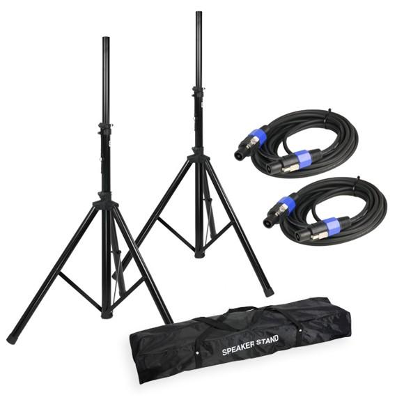 Adam Hall - SPS 023 SET 2 - Speaker Stand Set + Speaker Cables & Transport Bag