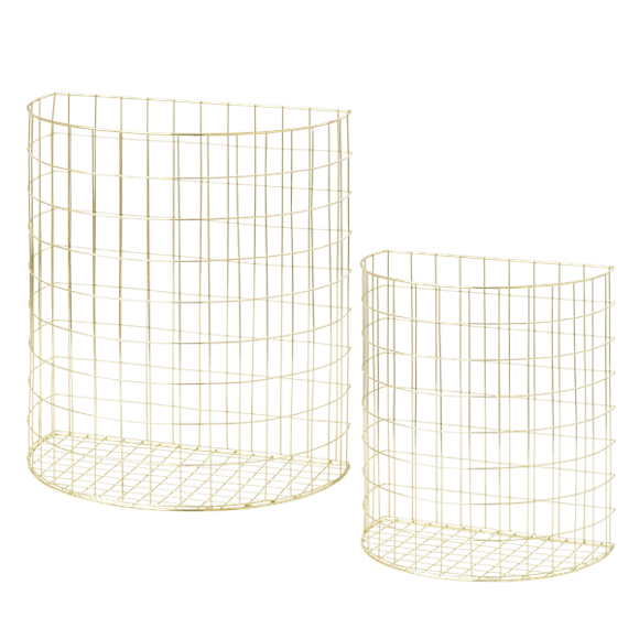​Rice - Set of 2 Wire Basket in Half Circle Shape in Gold