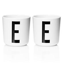 Design Letters - Personal Melamine Cup E - 2 pcs - White- (Bundle)