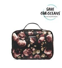 Gillian Jones - Toiletry Bag in Black w. Rose Print