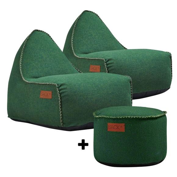 SACKit - 2 x RETROit Cobana + RETROit Cobana Drum Puf - Grøn ( Kan bruges udendørs )