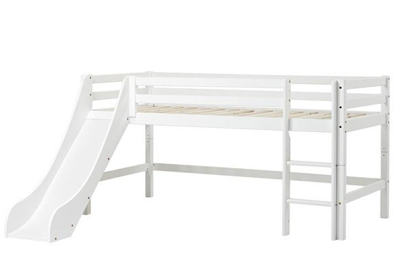 Hoppekids - BASIC Half-high bed with slide 90x200 cm - White