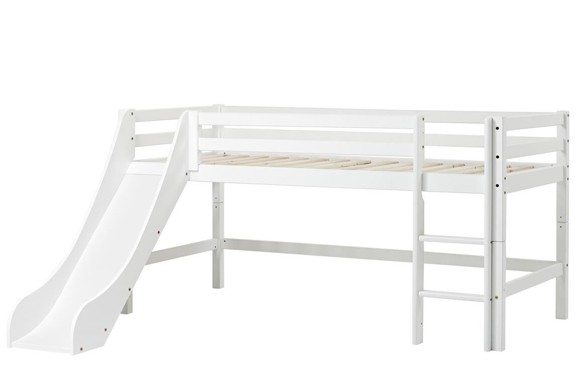 Hoppekids - BASIC Halvhøj seng med rutsjebane 90x200 cm - Hvid