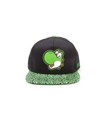 Super Mario Bros Yoshi Face Snapback Animal Print Brim Baseball Cap Green/Black