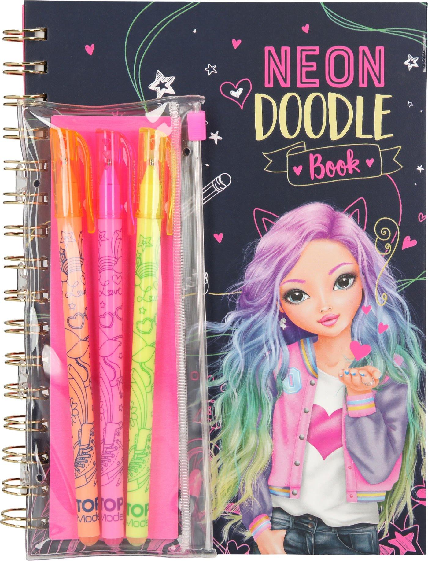 Top Model - Neon Doodle Malbuch mit Neon Stifte-Set