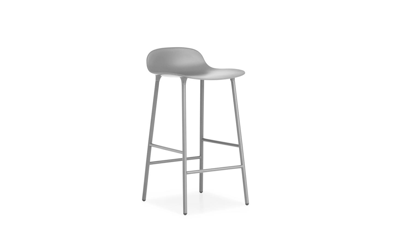 Normann Copenhagen - Form Barstuhl 65 cm - Grau/Stahl
