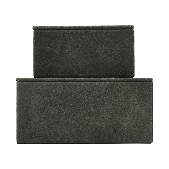 House Doctor - Suede Storage Boxes Set of 2 - Green (Sk1450)