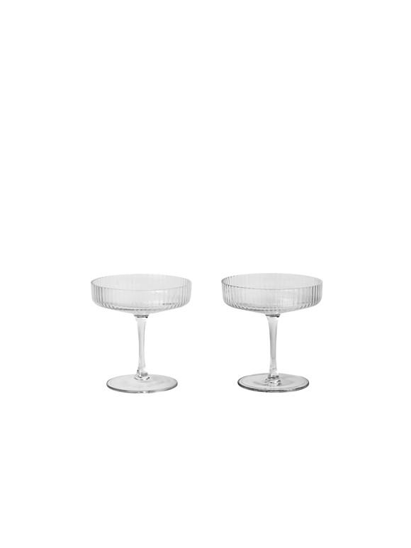 Ferm Living - Ripple Champagne Glas Sæt á 2 - Klar