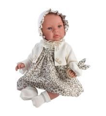 Asi - Leonora dukke i beige blomstret kjole, 46 cm