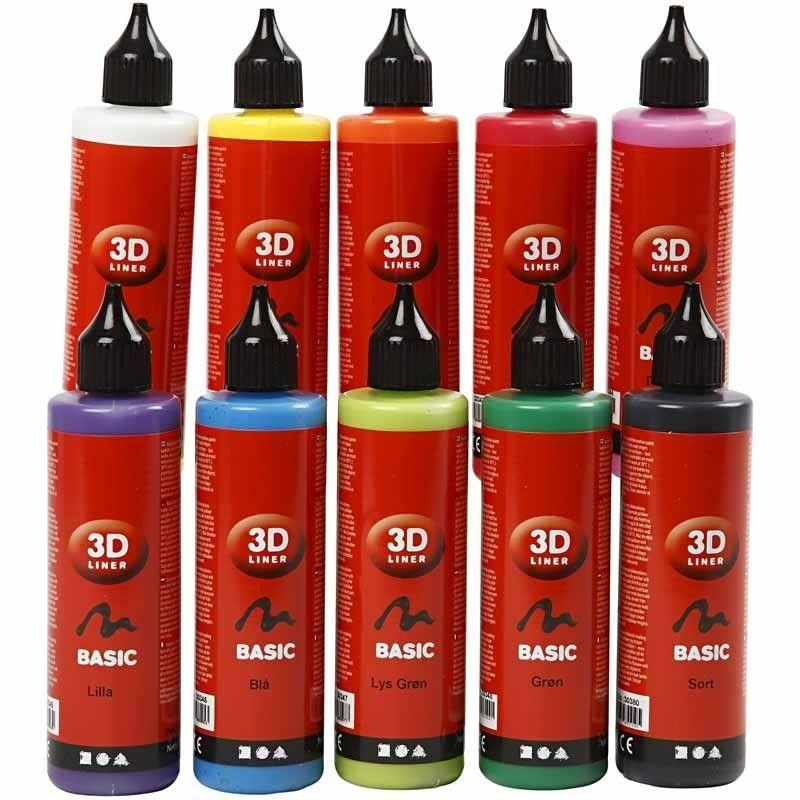 Bilde av 3d-liner - Assorterede Farger - Basic - 10x100ml