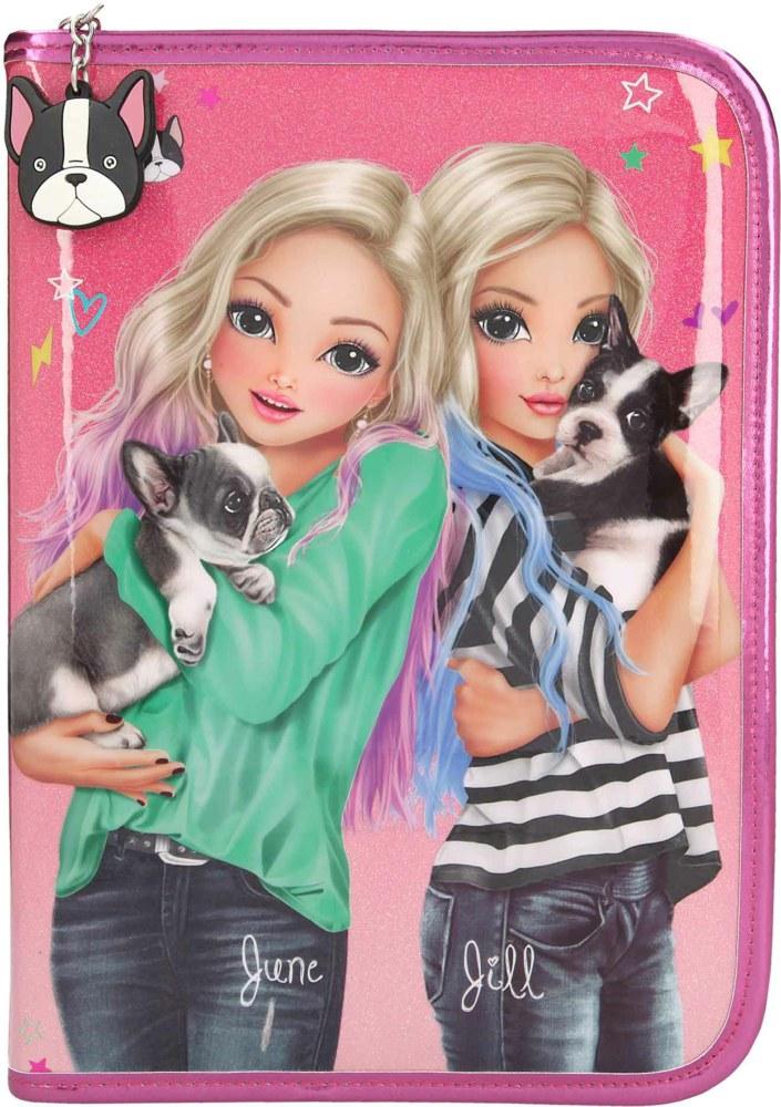 Top Model - große Federtasche Friends Hund Pink, June & Jill