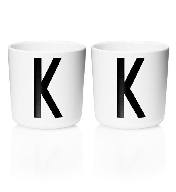 Design Letters - Personal Melamine Cup K - 2 pcs - White