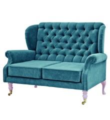 Rice - 2 Seater Velvet Sofa - Petrol w. Soft Pink Legs