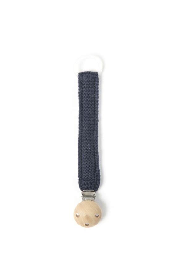 Smallstuff - Knitted pacifier chain - Navy
