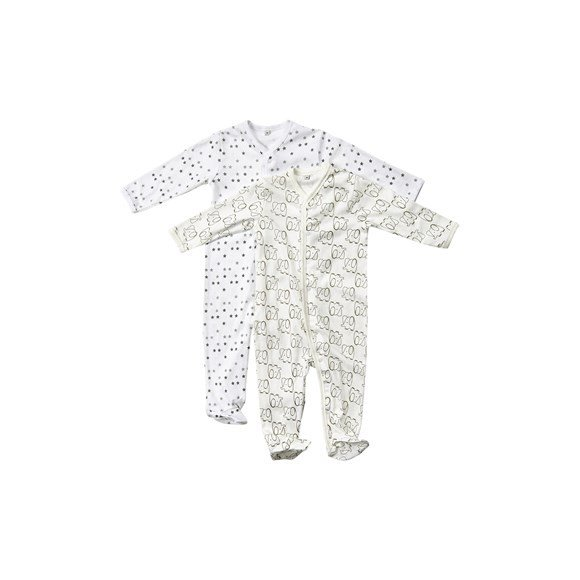 Pippi - Nightsuit w/f 2-pack - buttons - Off White