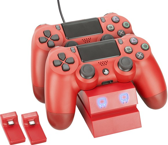 Venom PlayStation 4 Twin Charge Docking Station - Red (PS4)