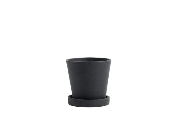 HAY - Flowerpot w/saucer Small - Black