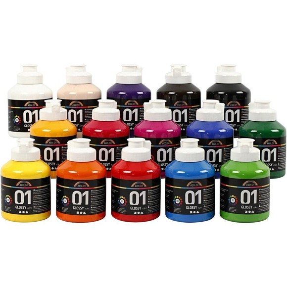 A-Color - Acrylic Paint - Glossy - 15 x 500ml (32000)