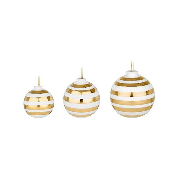 Kähler - Omaggio Christmas Balls 3-pack - Gold (692401)