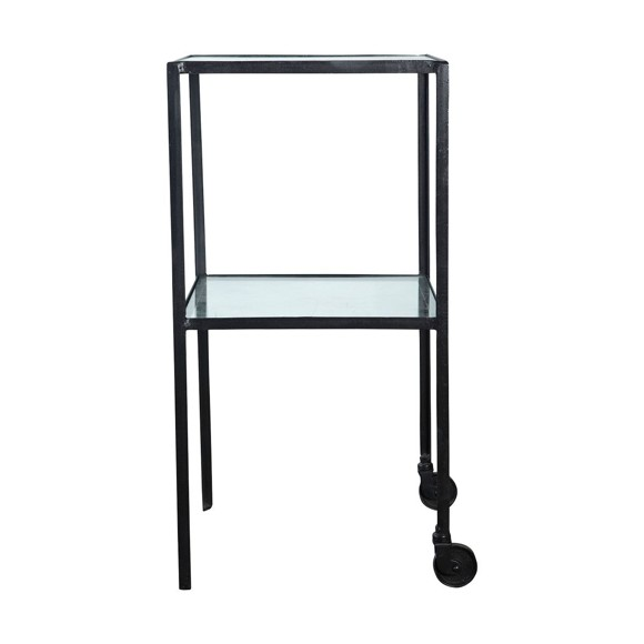 House Doctor - Trolley with Glass Shelf Small - Black