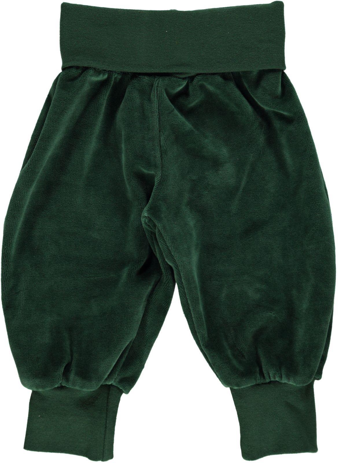 Småfolk - Velvet Baby Waistband Pants - Hunter Green
