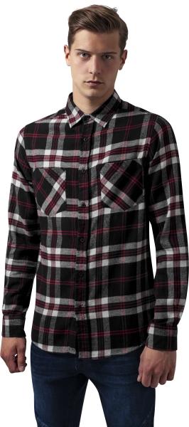 Koop Urban Classics Checked Flanell 3 Shirt Black White Red