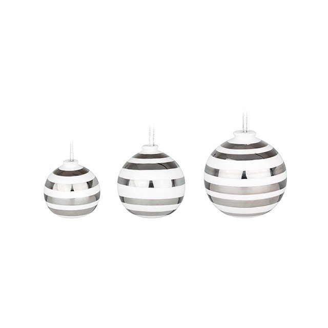 Kähler - Omaggio Christmas Balls 3-pack - Silver (692400)