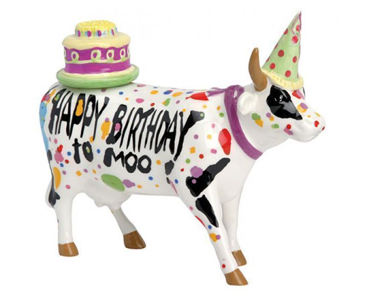 CowParade - Kuhfigur (Happy Birthday to Moo!) - Mittelgroß