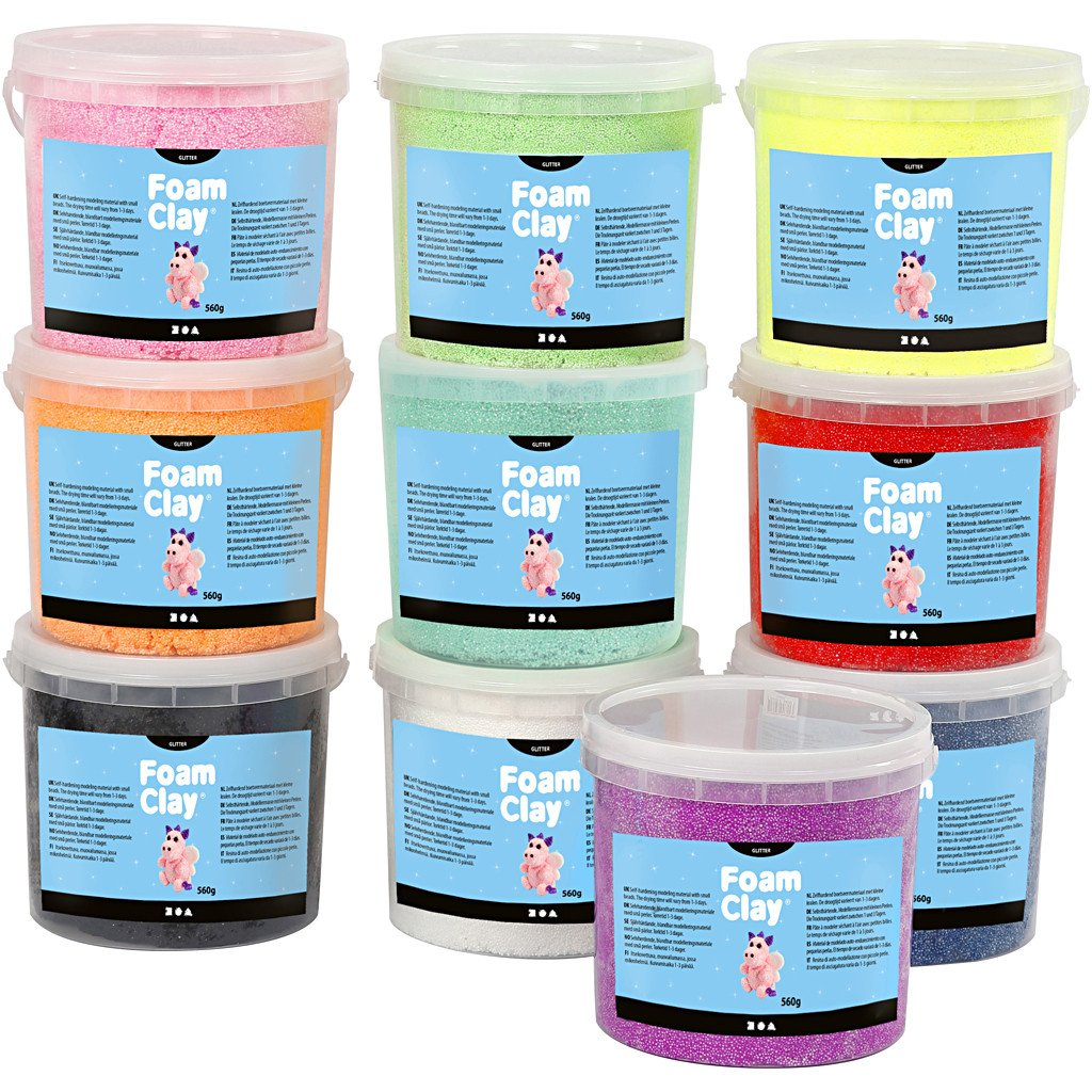Foam Clay - Assorted Colours w/Glitter (10 x 560g) (78098)