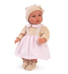Asi dolls - Leonora doll in pink and beige dress, 46 cm