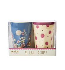 Rice - 2 Tall Melamine Cups - Water Color & Flower Collage