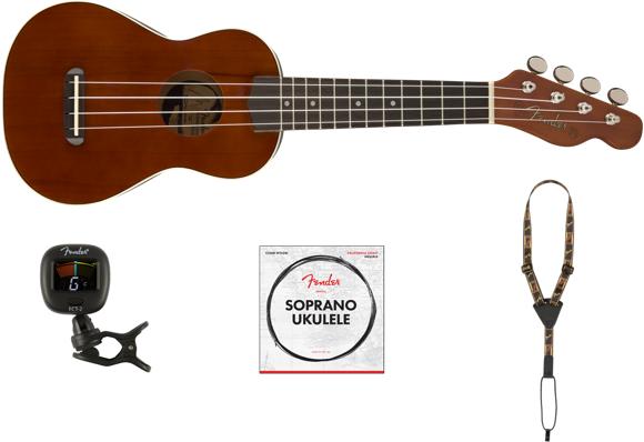Fender - Venice, California Coast - Soprano Ukulele With Accessories (Cherry)
