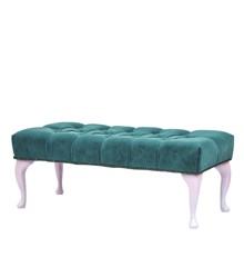 Rice - Rectangular Velvet Pouf - Petrol w. Soft Pink Legs