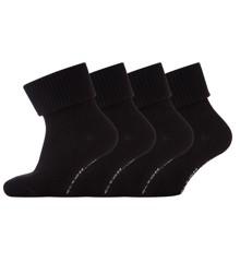 Melton - Baby Sock One colored - 4-pack - Black (600140-190)
