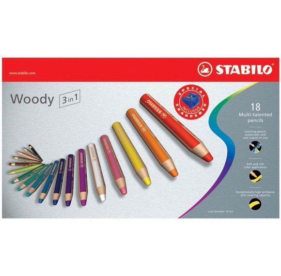 Stabilo - Woody 3in1 wallet of 18 colours with sharpener