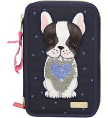 Top Model - 3-fach Federtasche Hund dunkelblau