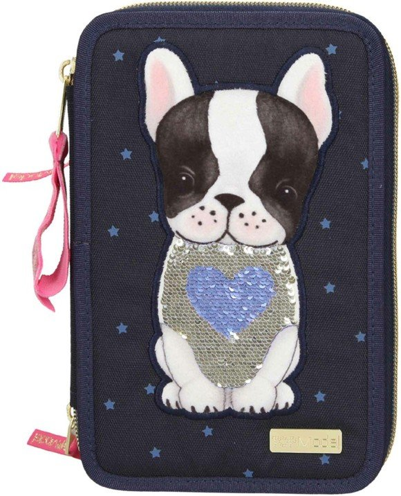 Top Model -  Trippel Pencil Case w/Dog - Blue (0410679)