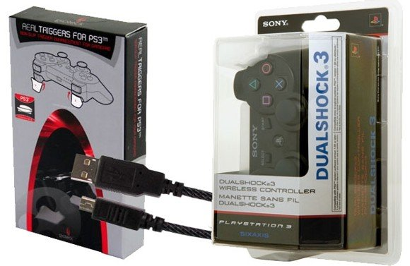 Dualshock 3 Controller + Real Triggers + 3m USB Cable