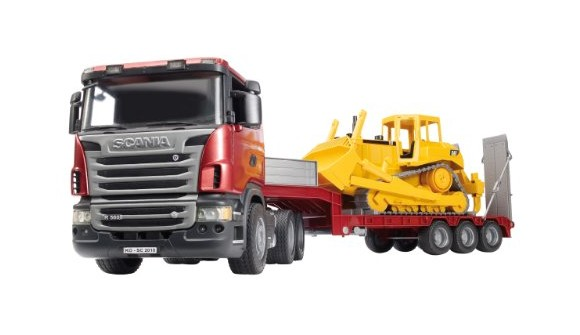 Bruder - Scania R-Series Low Loader Truck w. bobcat (3555)