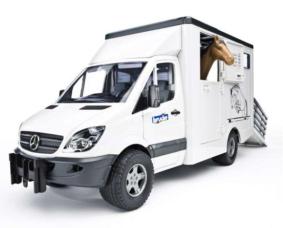 Bruder - Mercedes Benz Sprinter Hestetransport med 1 hest