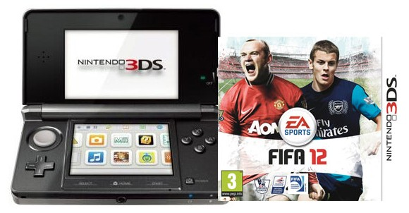 Nintendo 3DS Console - Black Bundle with Fifa 12 (Nordic)