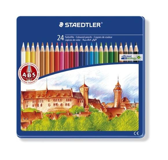 Staedtler - Noris Club - Coloured Pencils in Tin Case, 24 pcs (145CM24)